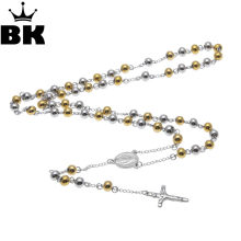 Hip Hop Religious Stainless Steel Necklace Men Jewelry or Women Catholic Rosary Beads Chain Necklace Cross For Christmas Gift(China)