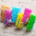 (Alta Qualidade!!) 6 Pacotes de Misturar Cores Lucency Luminous Rubber Loom Bandas Recargas kit (600 bandas + 24S-Clips + 1 pc Gancho/Pack)