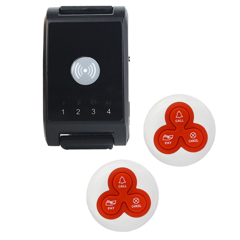 1pcs Wireless Pager Watch Calling Receiver+2pcs Call Button Pager System For Hospital Waiter Pager Restaurant Equipment 433MHz 433mhz wireless pager calling system restaurant equipment for factory coffee watch wrist receiver 12pcs call button f3300a