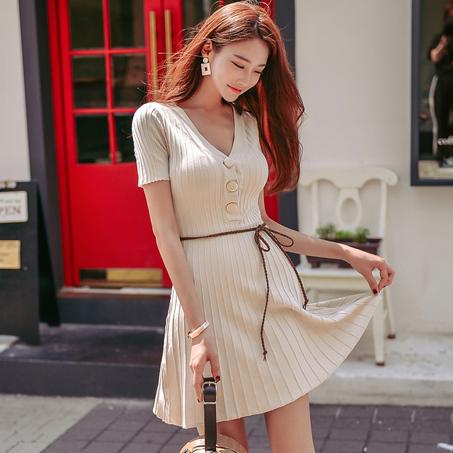 e317077521bc Deep V-neck Buttons A-line Knitted Dress Sexy Short Sleeve Slim Waist Women Dress  Elastic Autumn vestidos femme without sashes