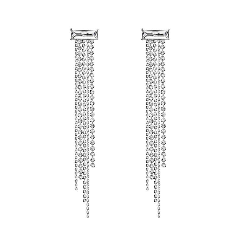Rhinestone gem fringed long earrings women Frosty temperament earrings
