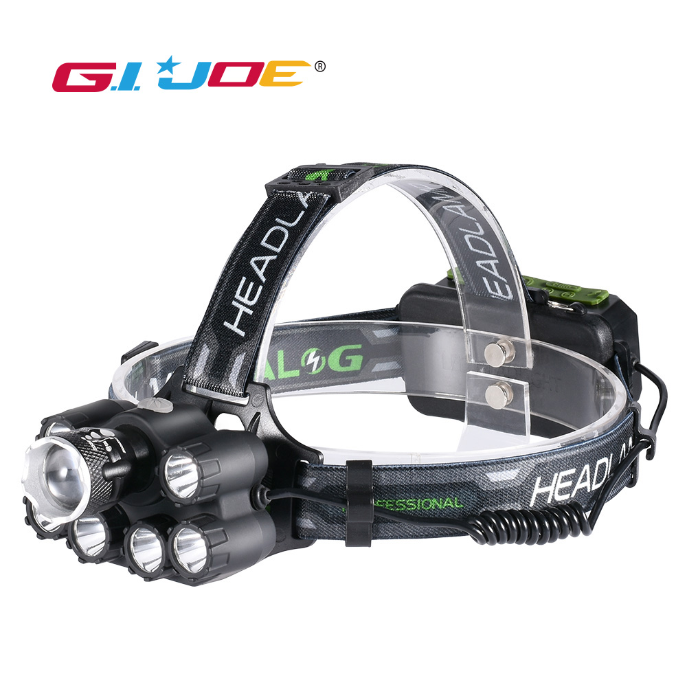 GIJOE bluetooth led headlamp zoomable music headlight waterproof 2*18650 battery usb rechargeable 6 modes lamp outdoor <font><b>3000LM</b></font> image