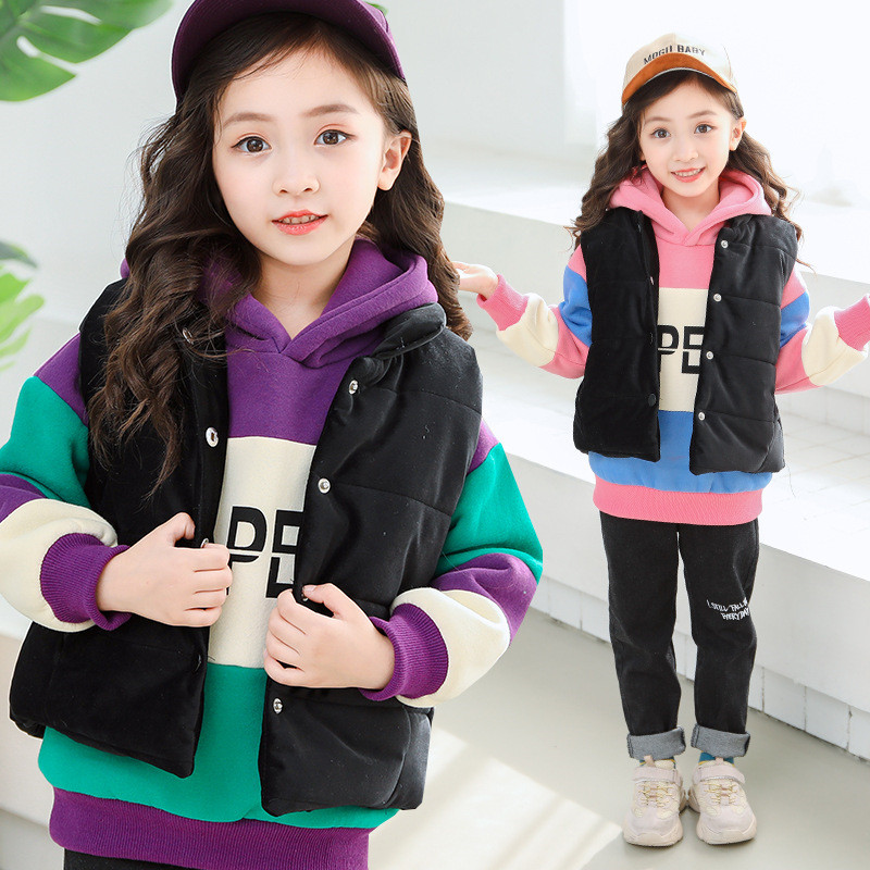 Winter Girls Clothing Sets Baby Clothes Long Sleeve Thick Warm Coats+Vest+Pants 3Pcs Kids Suits Winter Clothes For Girl Outfit