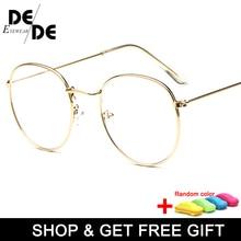 Designer Woman Glasses Optical Frames Metal Round Frame Clear lens Eyeware Black Silver Gold Eye Glass with box