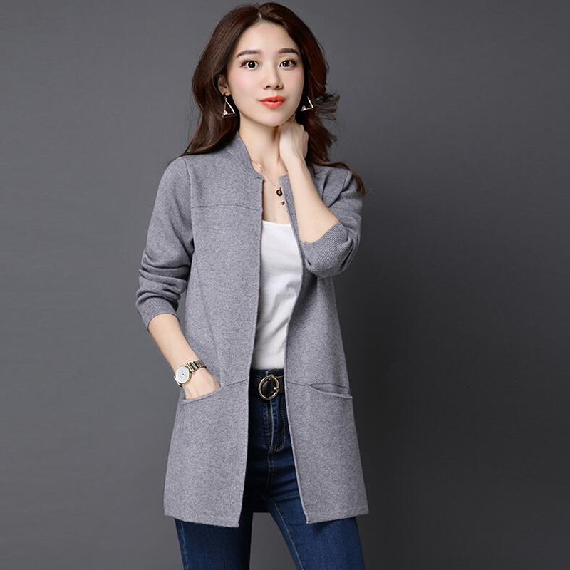 Plus Size Long Section Knit Cardigans Sweater 2018 Autumn Winter New Loose Sweater Coat Female Top Pocket Solid Color