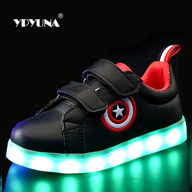 Размер 26-37//USB Зарядка Корзина Водить Детей Shoes With Light Up Дети Случайные Мальчики и Девочки Световой кроссовки Светящиеся Обуви enfant