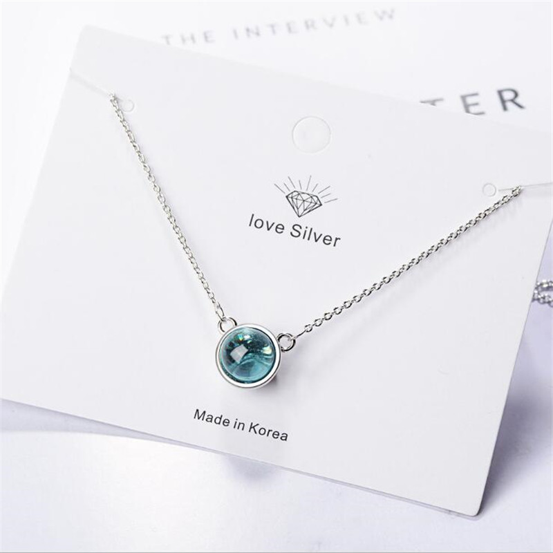 Flash Exquisite New Fashion Fresh Blue Crystal 925 Sterling Silver Jewelry Gradient Round Temperament Pendant Necklaces H367