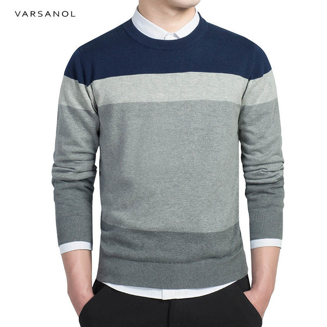 Cotton Sweater Men Long Sleeve Pullovers Outwear Men's O-Neck Sweater Tops Loose Striped Fit Knitting Clothing Newest