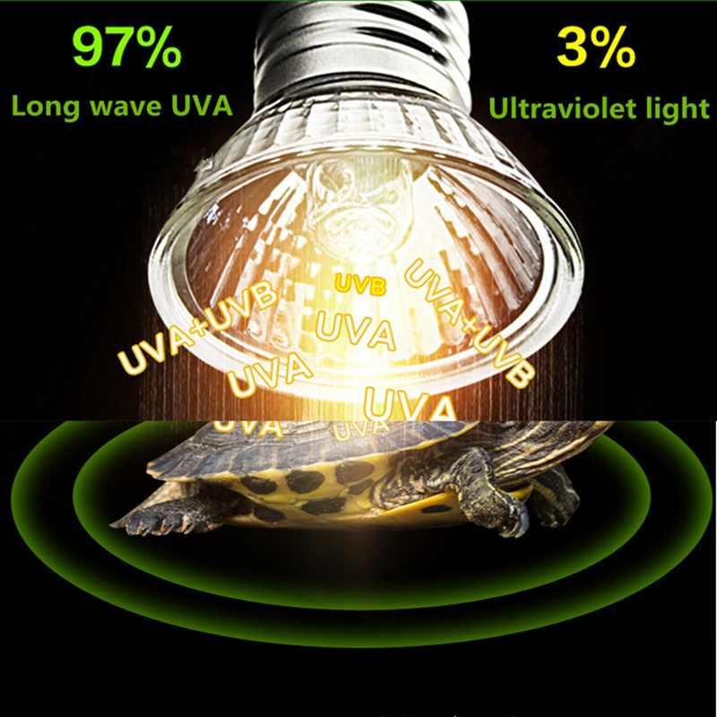 الحيوانات الأليفة السلحفاة مصباح تدفئة السلحفاة ضوء 25 واط/50 واط/75 واط UVA UVB الطيف الكامل مصابيح الشمس باعث الفرح الزواحف أضواء منخفضة الكثافة
