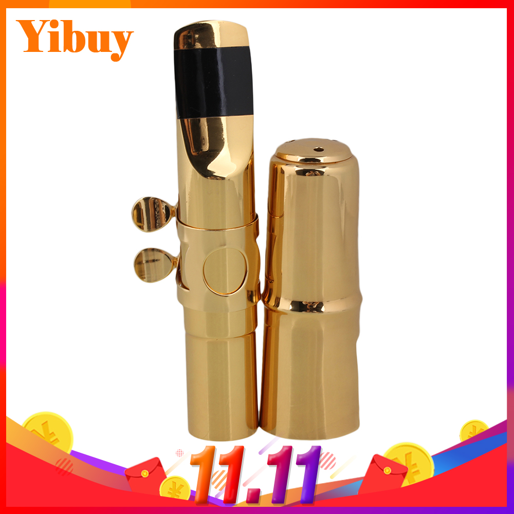 Yibuy E-flat Alto Saxophone Sax Mouthpiece Cap Ligature Gold plate 7# Good Sound 2017new free high quality yas 875 saxophone e flat alto saxophone sax music top high quality gold electrophoresis