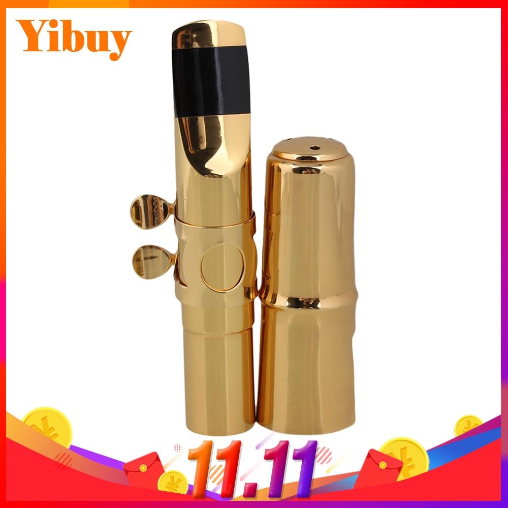 Yibuy E-flat Alto Saxophone Sax Mouthpiece Cap Ligature Gold plate 7# Good Sound alto saxophone instrument 54 french selmer sax alto profissional bronze perfect sound quality free shipping