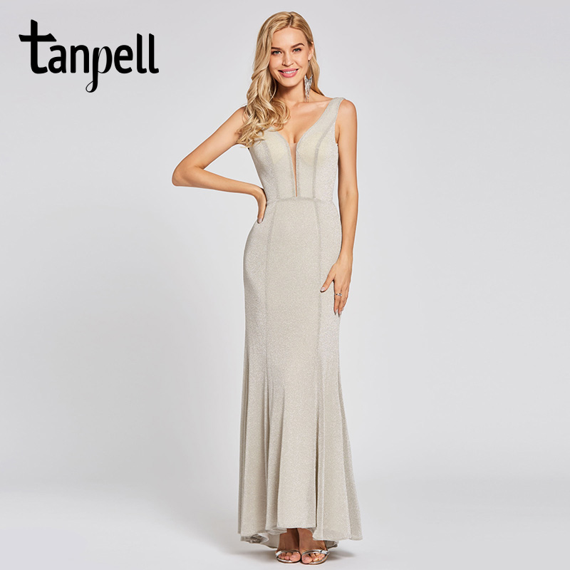 bb46459be5c Tanpell backless long evening dress silver sleeveless floor length mermaid dresses  women wedding party prom formal