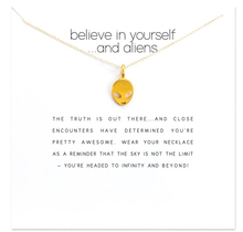 Trendy The Alien Necklace For Women Minimalist Pendant Gold Color Chain Choker Necklaces Believe in Yourself Gift Card