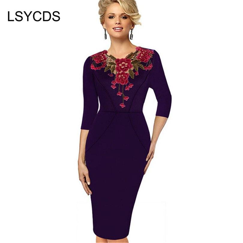 a70be36693f51 الجديد وصول المرأة الخريف الشتاء ملابس أنيقة خمر يزين فساتين للنساء غمد  جاهزة اللباس كبيرة الحجم xxxl
