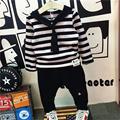 С капюшоном Малышей Мальчики Одежда Полосатый Рубашка С Брюками Устанавливает Дети Одежда Мальчики Conjunto Menino Случайные детские Костюмы