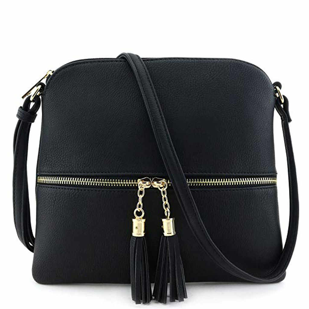 Leather Luxury Handbags Women Bags Designer Women Leather Tassel Crossbody Bag Pure Color Shoulder Bags Messenger Bag#25