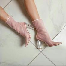 Elegant Pink Mesh Women Ankle Boots Pointed Toe Clear Transparent Square Heels Runway Boots Back Zipper See Throuth Ladies Shoes luchfive individual front zipper ankle boots for women pointed toe clear acrylic wedge heels transparent women short boots