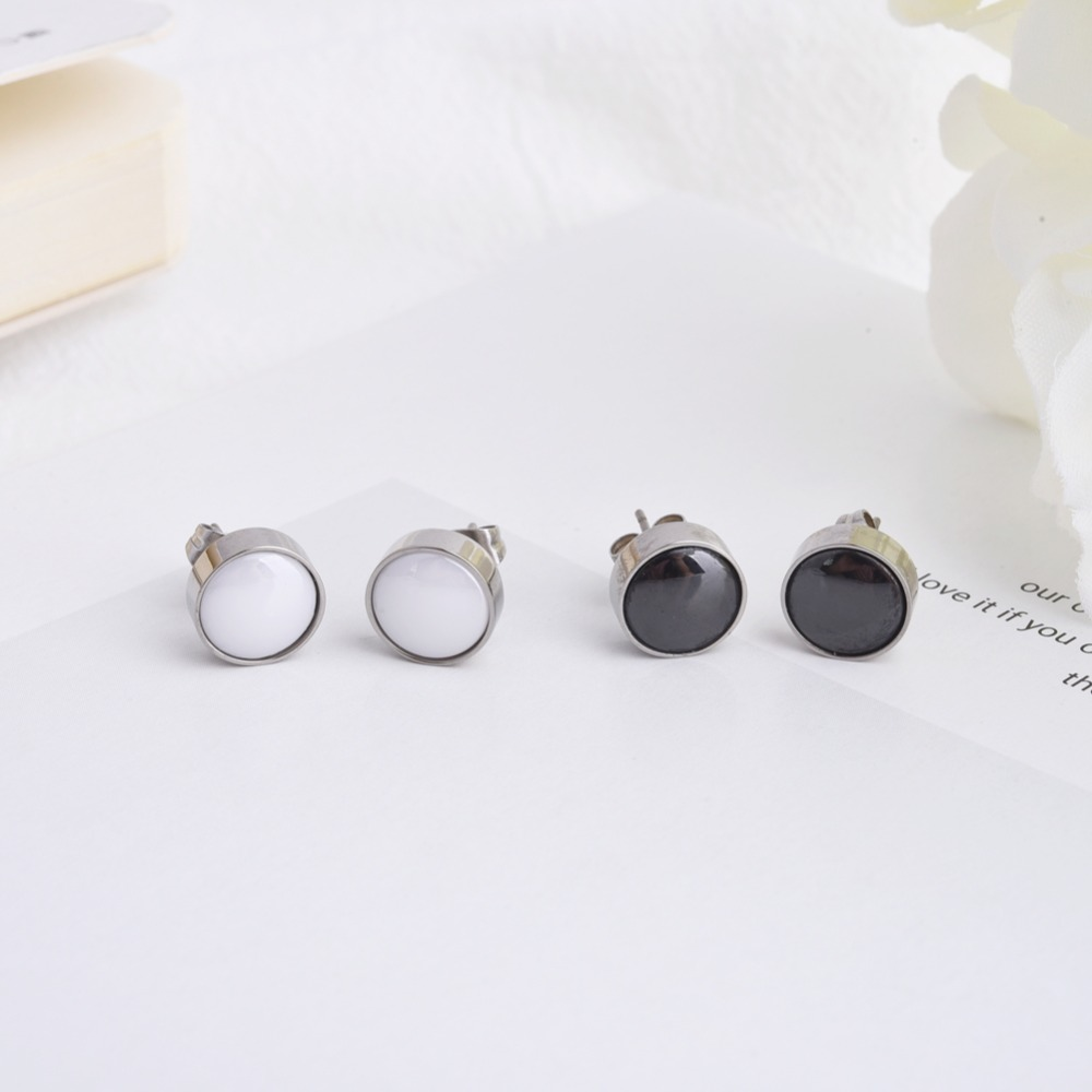 0b98ac54d New Classic Round Pure Titanium Stud Earrings Black & White Ceramic Inlay  For Women Men Girlfriend Gift Unisex Ear Jewelry -in Stud Earrings from  Jewelry ...