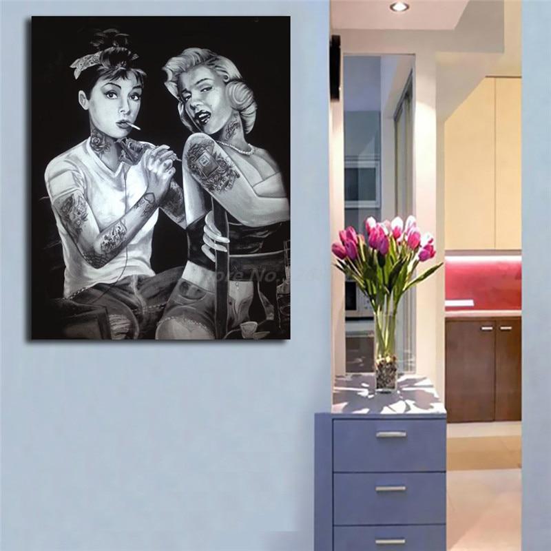 Audrey Hepburn Marilyn Monroe Tattoo HD Canvas Painting