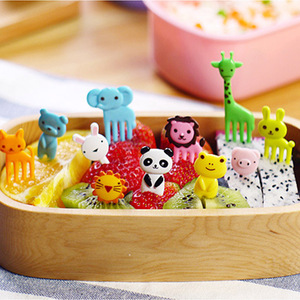 10pcs/pack Animal Farm Fruit Fork Mini Cartoon Children Snack Cake Dessert Pick Toothpick Bento Lunches Party Decoration(China)