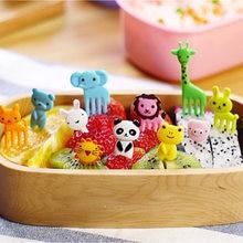 1 conjunto animal fazenda garfo de frutas mini desenhos animados crianças lanche bolo sobremesa palito bento almoços festa decoração