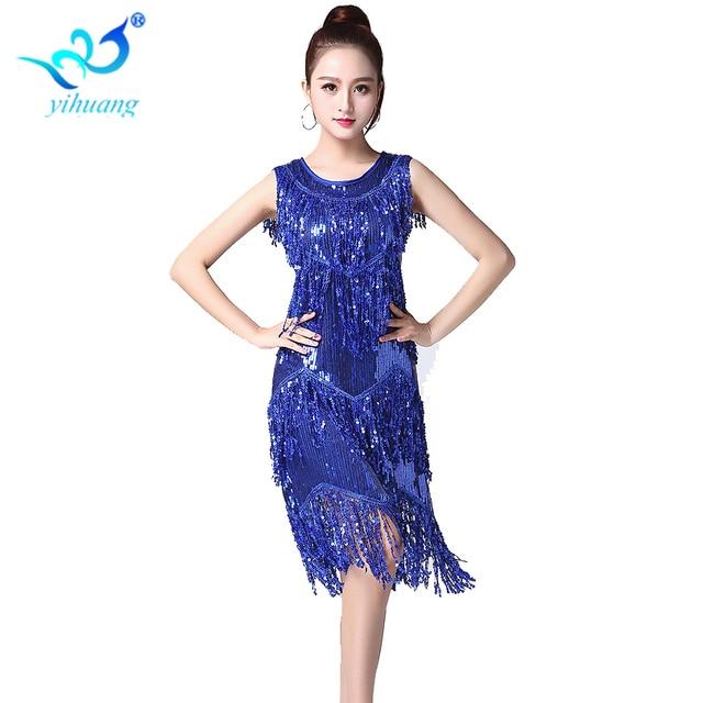 e2eb9dab833b3 Ladies Latin Dance Dress 1920s Flapper Gatsby Dress Sequin Party Weeding Cocktail  Salsa Ballroom Cha Cha