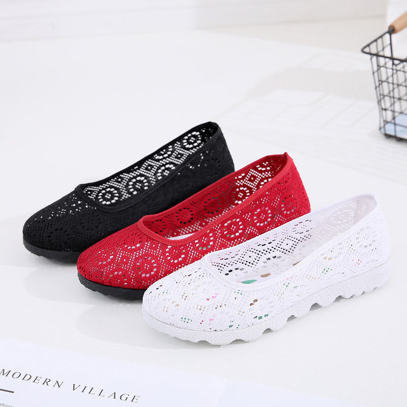 Summer shallow mouth flat net female shoes ultra light soft bottom shoes flat with pregnant women shoes