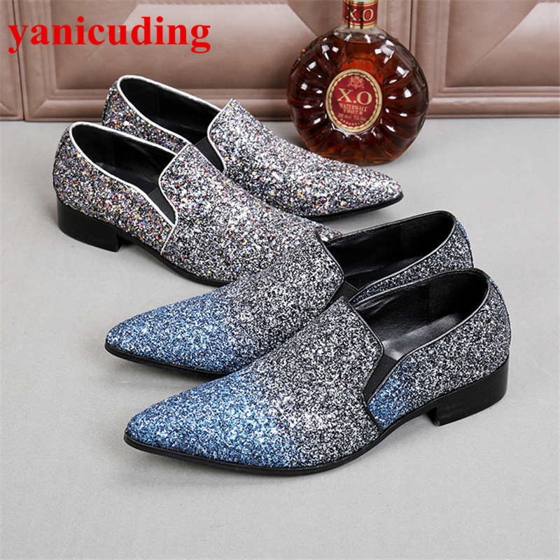 Pointed Toe Bling Men Casual Shoes Low Top Slip On Men Flats Fashion Men Loafers Brand Designer Hommes Chaussures Big Size Shoes flats man loafers shoes pointed toe high quality big size 46 39 black white orange slip on pu leather new arrival 2017 ephemeral