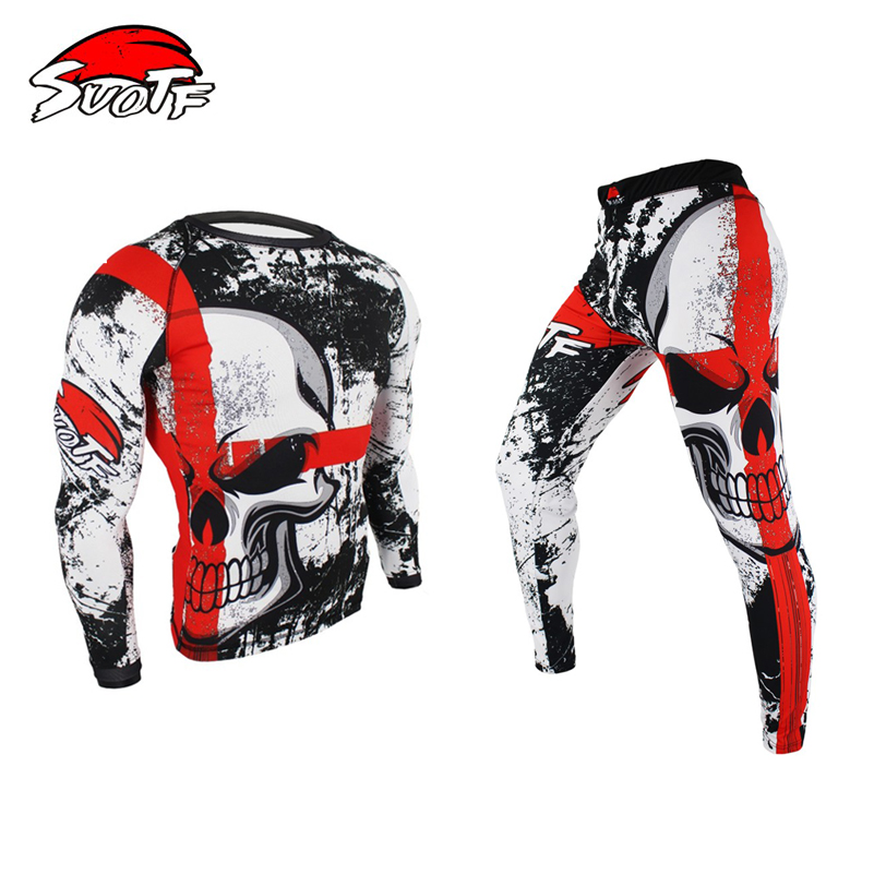 SUOTF Boxing Set Compression Jersey+Pants Skull Rashguard KickBoxing Tight Long T-Shirts Trousers Muay Thai MMA Fightwear