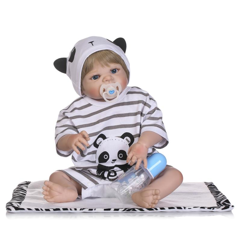 Nicery 22inch 55cm Magnetic Mouth Reborn Baby Doll Hard Silicone Lifelike Toy Gift for Children Christmas Black White Panada Toy super cute plush toy dog doll as a christmas gift for children s home decoration 20