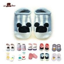 Хлопковые нескользящие носки для новорожденных; носки для малышей; носки-тапочки для мальчиков и девочек; милые носки для малышей с рисунками животных