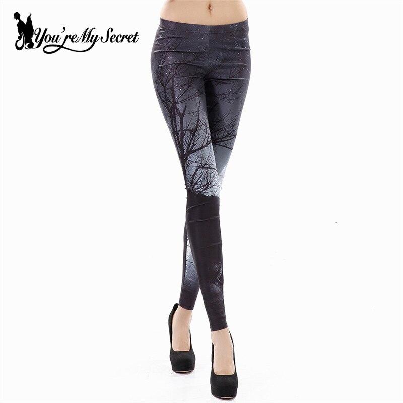 [Vous êtes Mon Secret] Mode Plus La Taille Impression Leggings Femme Étoilé Ciel Minuit Woods Leggins Femmes Fitness Skinny pantalon Automne