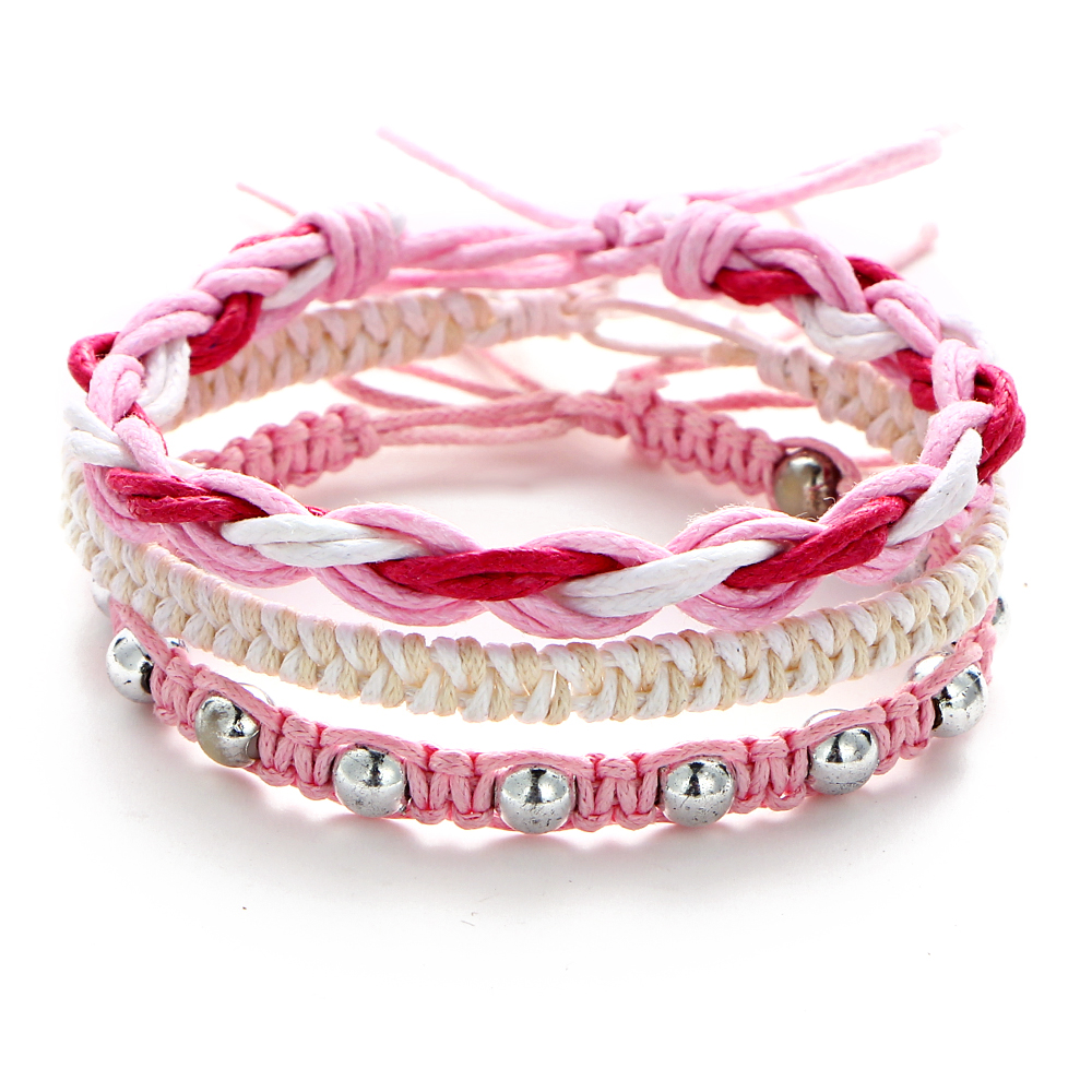 Cloaccd Multilayer Handmade Weave Love Charm Bracelets & Bangles Set For Women SUmmer Beads Pink Bracelet Party Jewelry