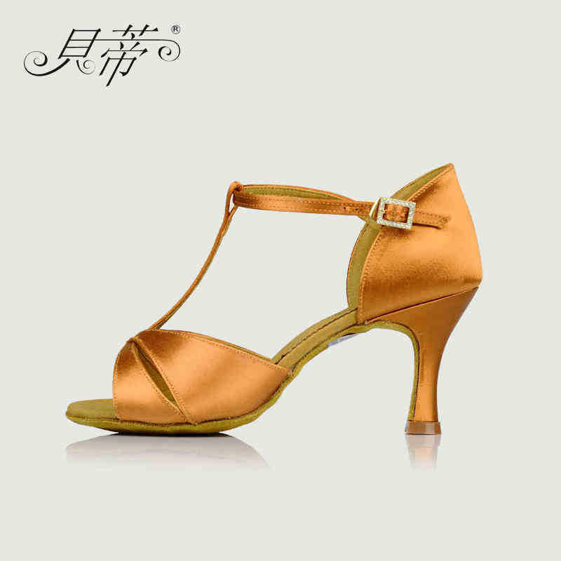 Latin dance shoes woman Salsa BD 2358 Imported satin Shiny dazzling Genuine Leather soles wear resistant