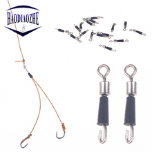 HAODIAOZHE 20pcs/lot Fishing Connector Rolling Swivel Stainless Steel Fishing Gear Accessories Connector Nice Snap Tackle YU155