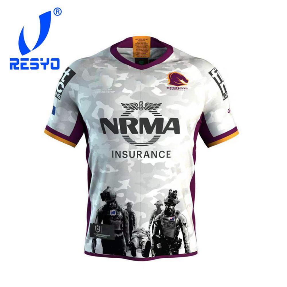 RESYO For 2019 Australis Brisbane Broncos ANZAC MEN RUGBY JERSEY Sport Shirt Size:S-3XL Free Shipping