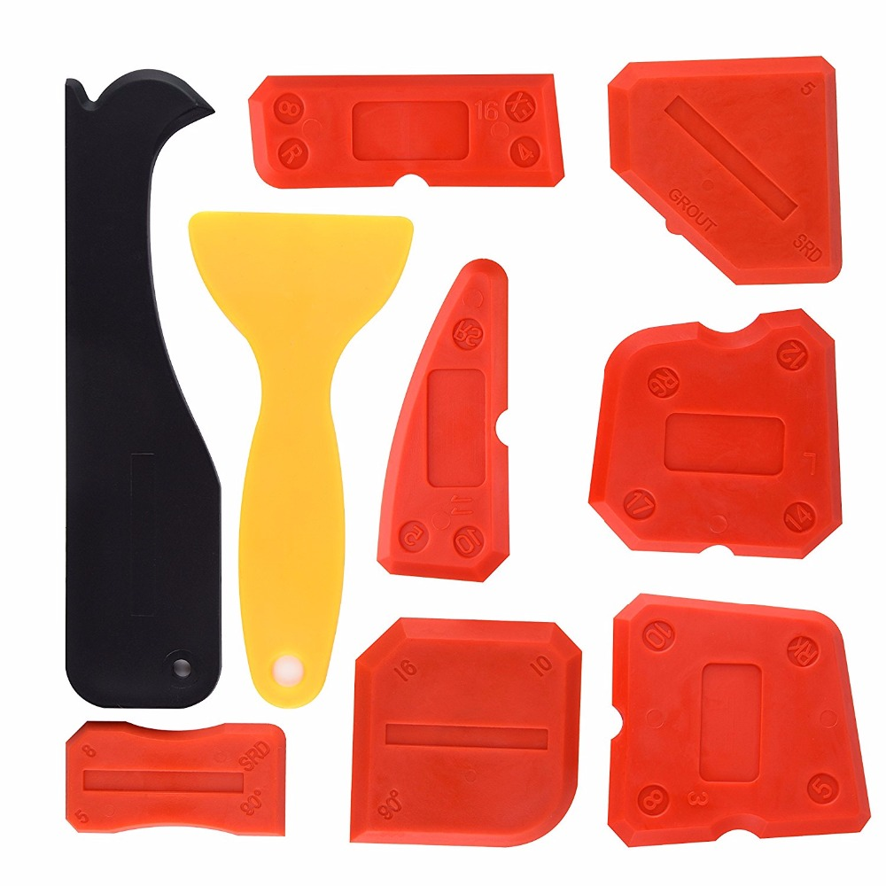 9pcs Per Set Silicone Sealant Scraper Smoothing Tool Caulking Tool Kit Grout Finishing Tools For Bathroom Kitchen Room