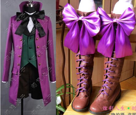 New Anime Black Butler II 2 Alois Trancy Cosplay Boots Costume Shoes customized Full Set