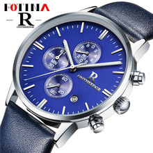 Small Dials Work Fotina Top Brand R Watch Men Blue Black Business Quartz Stop Watches Men
