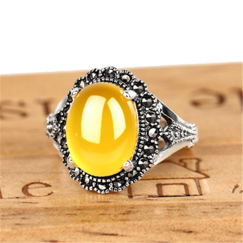 New Fashion 925 Sterling Silver Jewelry Natural Stone Gem Adjustable Rings For Women Engagement Wedding Anniversary Gift