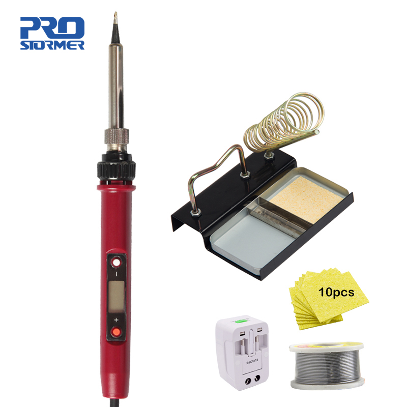 PROSTOEMER 120W Electric Soldering Iron Set  Adjustable Temperature 180-480Degree Welding Solder Station Heat Pencil Repair Tool