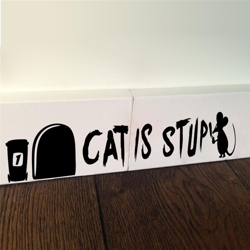 cat is stupid mouse hole wall stickers resting room decorations 374. diy vinyl home decal animal 3d mural art 5.3(China)
