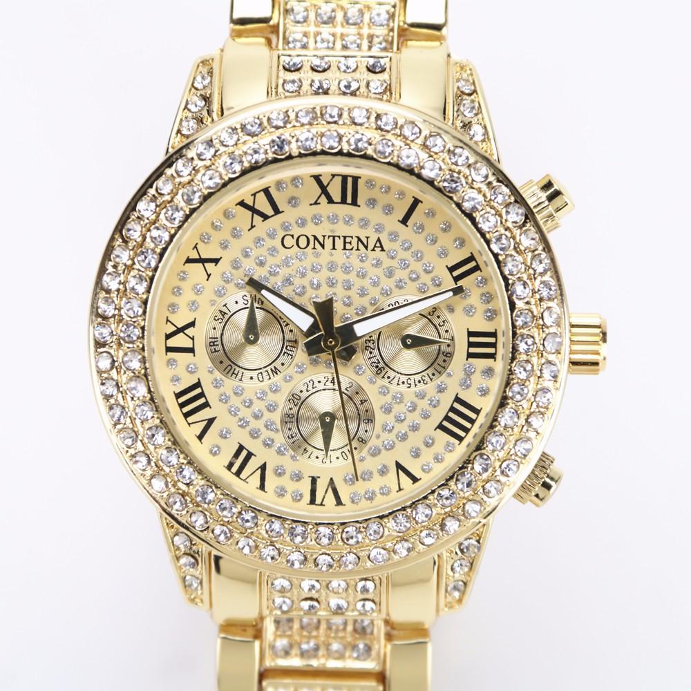 Prix pour 2017 Montre En Or Femmes De Luxe Marque Nouveau Genève Dames Quartz-Montre Cadeaux Pour Fille Pleine En Acier Inoxydable Strass poignet montres