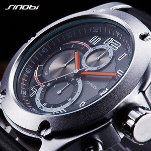 Image 2 - Relogio masculino SINOBI nowy mężczyzna chronografu zegarki na rękę kalendarz wodoodporne sportowe skórzane męska genewa wojskowy zegar kwarcowy