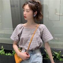 Runway Fashion Plaid Blouse Women Moda Mujer 2019 Ropa High Quality Shirt for Woman Korean School Summer short sleeve