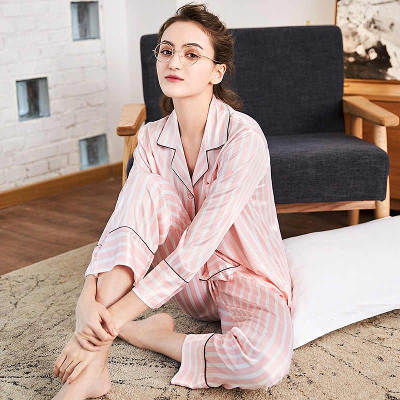 28e1894d08 ... SSH0111 New Spring Autumn 2 pieces Sets Pajamas for Women Striped  Sleepwear Home Clothing Suits Satin ...