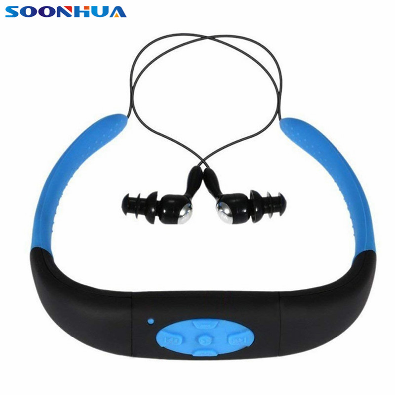 SOONHUA Built In 8GB Memory Earphone MP3 Music Player FM Radio Headphone IPX8 Waterproof Sport Headset With LED Indicator For PC