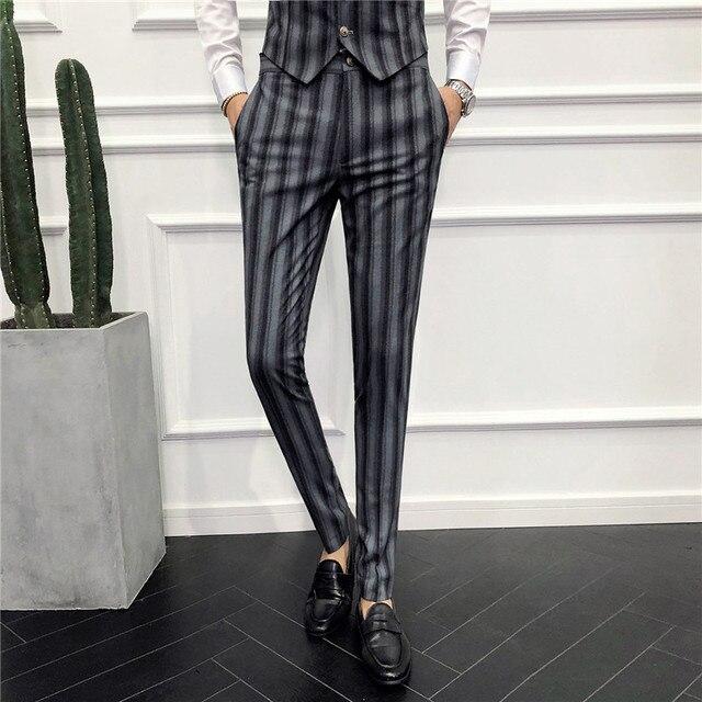 eb3d3b7c014dd Classic Mens Striped Dress Pants Black Gray Slim Elegant Youth Men Business  Wedding Banquet Suit Pants