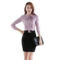 Top Straps Color Long Sleeve Shirts Women Blouses Shirt Chiffon Vintage Sky Blue Plus Size XXXL