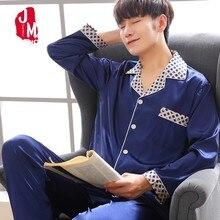 2018 Silk Sleep Men Pajama Sets Solid Home Satin Sleepwear Men Summer Suit Short Sleeve Pijama Man Cute Pyjamas Male XXXL Lounge